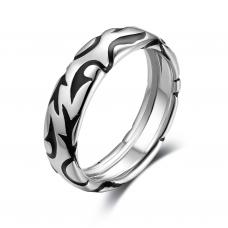 Mica Men Wedding Ring 18K White and Black Gold