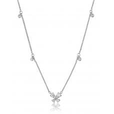 Mini Butterfly Diamond Necklace 18K White Gold